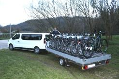Carrello con biciclette Bike shuttle Colli Euganei